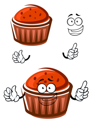 pasticceria: Happy delicious cupcake cartoon character with chocolate chips, for bakery or pastry shop menu