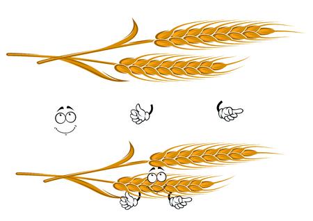 생각에 잠겨있는: Cartoon ears of ripe yellow wheat character with pensive smiling face, for agriculture, harvest or bakery themes 일러스트
