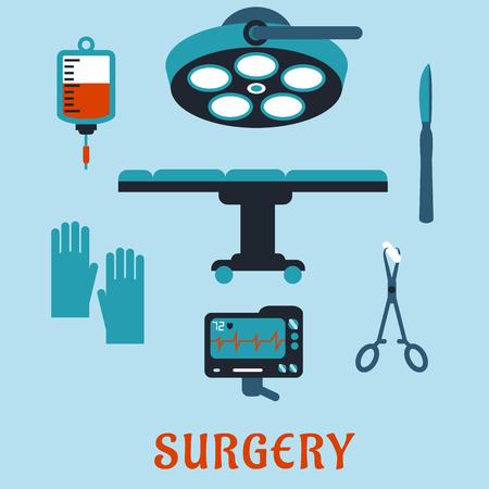 Iconos planos Cirugía con mesa de operaciones, lámpara quirúrgica, bisturí, pinzas con esponja, guantes, latido del corazón monitor, bolsa de sangre