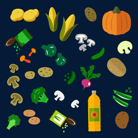 oil crops: Fresh and canned vegetables flat icons with potatoes, mushrooms, pumpkin, broccoli, radish, fresh and canned green pea and corn vegetables, sunflower oil bottle Illustration