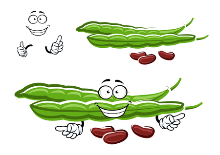Cartoon fresh green bean pods character with brown beans and joyful smiling face, for healthy food or agriculture themes