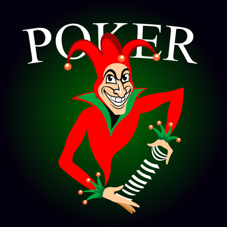 joker: Poker game emblem with cartoon joker in colorful costume and hat with bells. Joker holds deck of playing cards in hands on dark green background with caption Poker