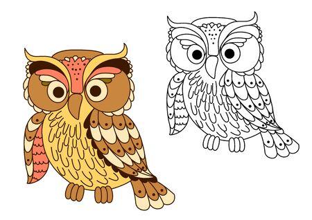 selva caricatura: Búho de la historieta divertida en colores pastel con plumaje moteado y grandes ojos en estilo de esquema. Para la educación o la decoración de Halloween diseño de fiesta