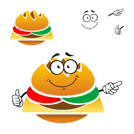 swiss cheese: Homemade tasty cheeseburger cartoon character with fresh tomato, cucumber and swiss cheese isolated on white