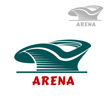 sporting event: Sports stadium abstract icon with curved green silhouette isolated on white background. For sports and modern building theme Illustration