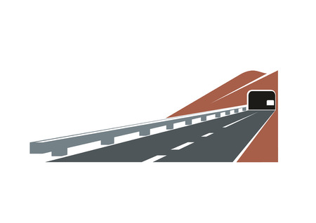 guardrail: Mountain road tunnel leading through brown rocky hill with modern paved highway and concrete guardrail,  for travel design