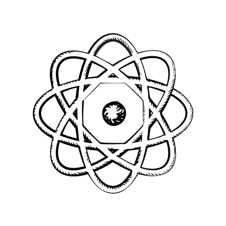 orbits: Scientific model of atom with nucleus and orbits isolated on white background. Sketch icon or symbol Illustration