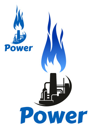 blue flame: Industrial symbol or icon with oil refinery factory, storage tank, tower, chimney and high blue flame. Isolated on white background, with caption Power