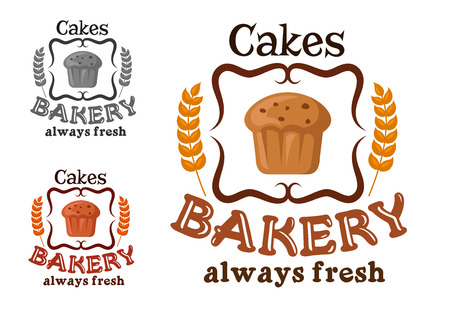 pasticceria: Bakery or pastry shop sign with cupcake, raisins, ornamental swirls and wheat with text Always Fresh Cakes Vettoriali