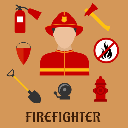 Firefighter profession flat icons with man in red protective helmet and suit, flanked by fire axe, conical bucket and shovel, extinguisher, fire alarm, hydrant and prohibition sign Illustration