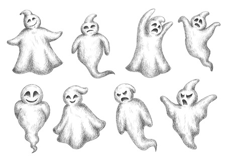 holiday party: Halloween flying monsters and ghosts in sketch style. For holiday party or invitation design