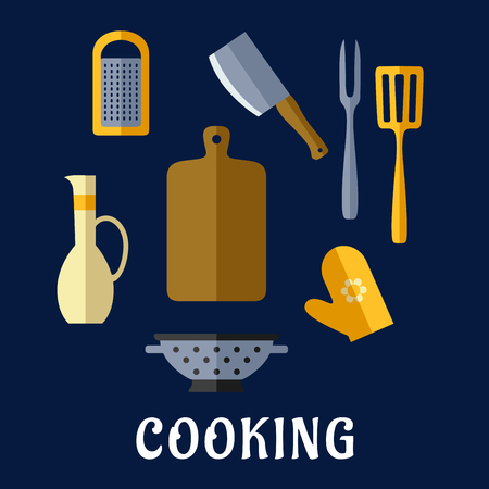 colander: Food utensils  and kitchenware flat icons with chopping board, cleaver knife, carving fork, spatula, grater, colander, oil jug and oven glove on blue background with text Cooking Illustration