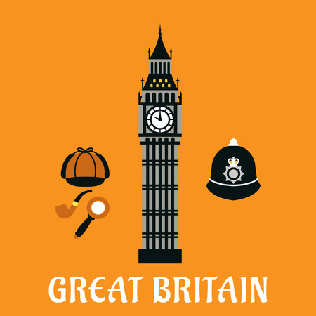 big ben tower: Great Britain travel symbols in flat style with  Big Ben tower, Sherlock cap, pipe, magnifier and custodian police helmet with caption Great Britain below