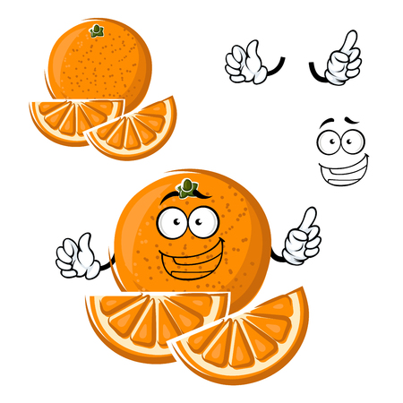 orange juice: Juicy healthful orange fruit cartoon character with slices and funny face, for agriculture or food themes design