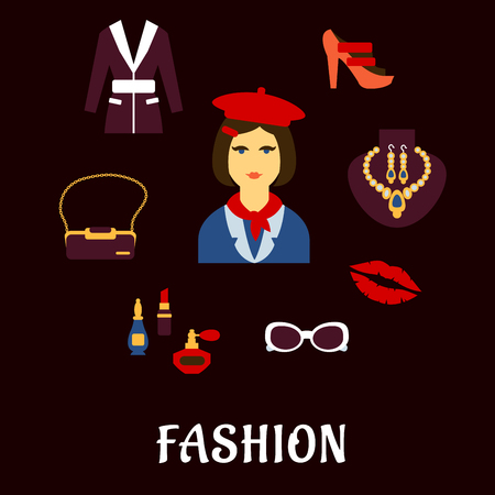 fashion glasses: Fashion flat icons with elegant woman in red beret and neckerchief with high heeled shoes, jacket, bag with chain handle, jewelry earrings and necklace, glasses, perfumes and cosmetics Illustration