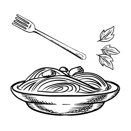 bowl: Italian pasta with meatball, sauce and basil, served in wide bowl with fork. Isolated on white background, sketch style Illustration