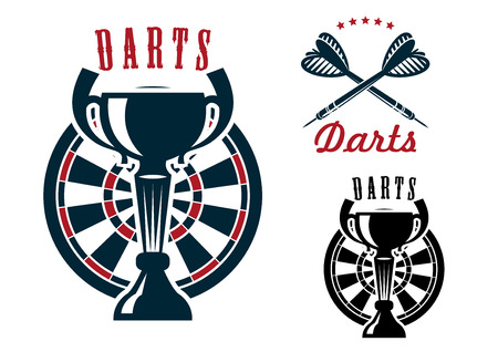 adorned: Darts game symbols with trophy cup on dartboard and crossed arrows adorned by stars Illustration