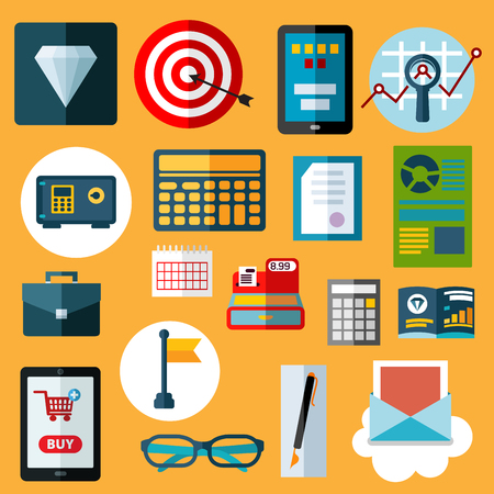 calculator money: Financial and commerce flat icons with diamond, safe, calculators, target with arrow, tablet pc with on-line shop, e-mail, calendar, financial reports, cash register, flag, glasses, briefcase, pen