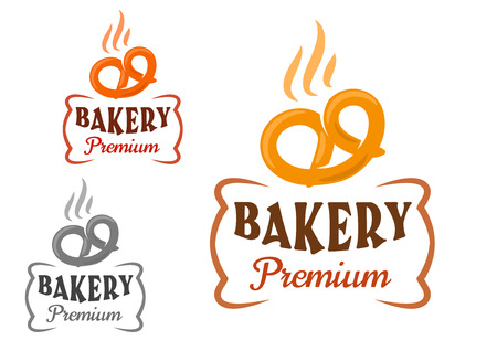 baked: Premium bakery emblem with fresh baked soft pretzel, supplemented by figured frame. Isolated signs on white background