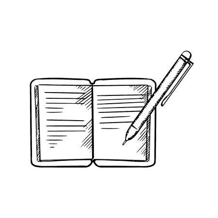 白い背景で隔離のボールペンでノートブックを開く。教育やビジネス コンセプト デザイン、イメージをスケッチします。  イラスト・ベクター素材