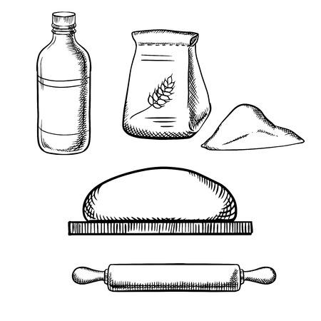Deeg op snijplank met houten deegrol, papieren zak meel en melk fles geïsoleerd op witte achtergrond, schets stijl