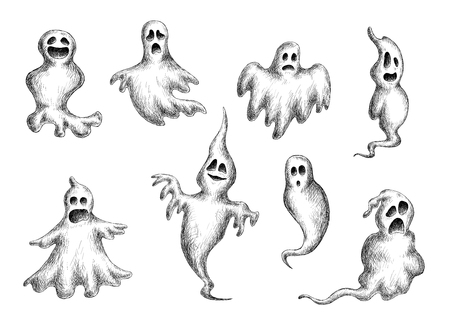 Halloween flying spooks and ghosts on white background, sketch style