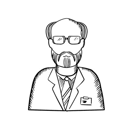 name badge: Scientist sketch with bearded senior in glasses and lab coat with name badge isolated on white background Illustration