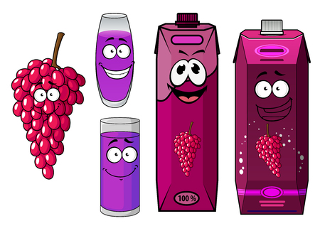 healthful: Sweet healthful bunch of red grape cartoon character with happy natural juice cardboard packs, fruit and filled glasses