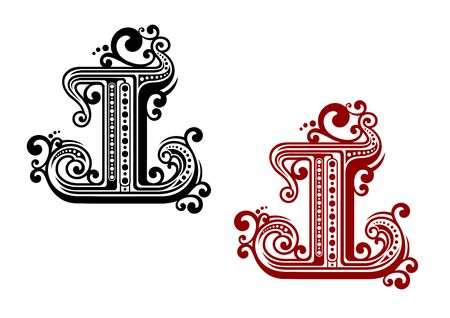 Decorative capital letter I in red and black color variations, adorned by retro ornament with dots and floral curlicues. For monogram or font design Illustration