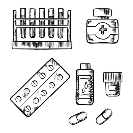 drug test: Test tube rack with blood tests, medical bottles with pills, drops and ointment, tablet in a blister pack and capsules isolated on white background. Sketch icons