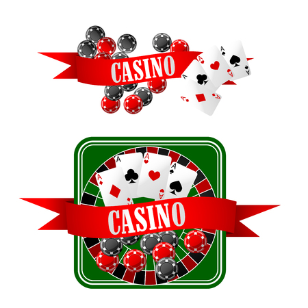 wheel of fortune: Casino icons with gaming chips, four aces on playing cards, dice and roulette table, decorated by red ribbon banners with text Casino