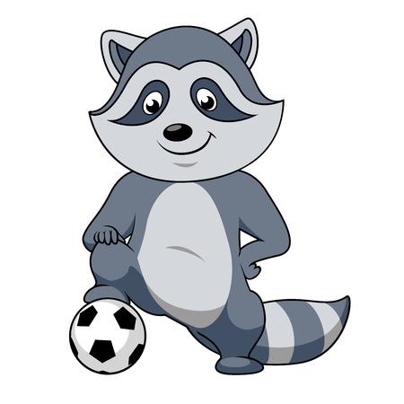 Speelse glimlachen cartoon wasbeer voetballer teken staat met poot op de voet bal. Voor sportieve club of team mascotte ontwerp