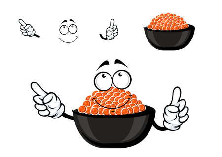 delicatessen: Red caviar bowl cartoon character with cold salmon caviar, for seafood or delicatessen menu themes