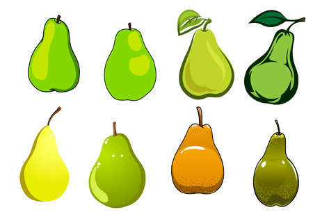 fruit orange: Jugosas dulces frutos de pera amarillo, verde y naranja con hojas frescas aisladas sobre fondo blanco,