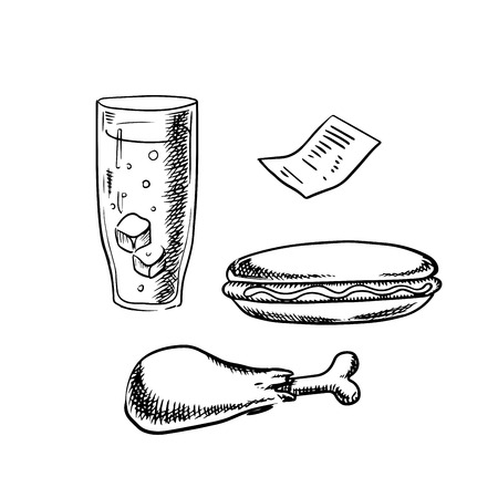 fried chicken: Fast food hot dog, fried chicken leg, soda with ice in tall glass and restaurant bill isolated on white background. Sketch style Illustration