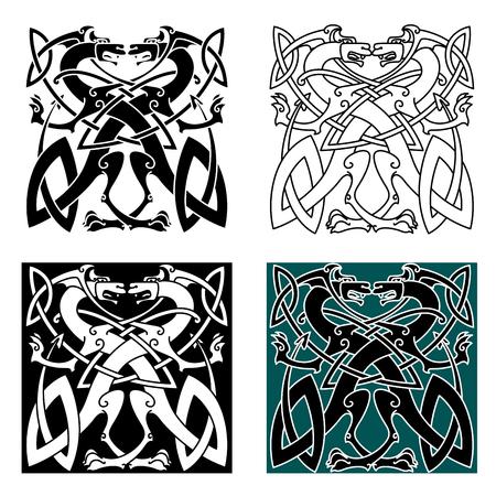 vikingo: La lucha contra los dragones en estilo celta con las alas y la cola anudada en el modelo ornamental de la vendimia para el tatuaje o el escudo de armas de diseño