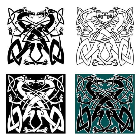 Fighting dragons in celtic style with wings and tails knotted into vintage ornamental pattern for tattoo or coat of arms design Illustration