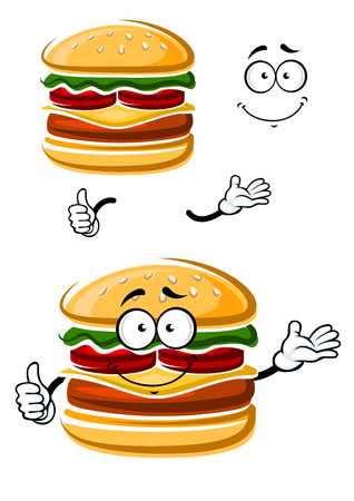 sesame seeds: Cartoon happy cheeseburger character with patty, fresh tomatoes, lettuce leaf, cheese and bread bun with sesame seeds, giving thumb up sign. For fast food or takeaway cafe menu theme Illustration
