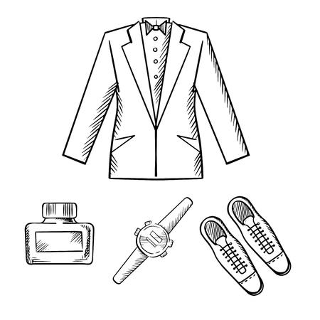 anochecer: Hombre traje de noche formal con chaqueta, camisa y corbata, zapatos elegantes, reloj y agua de colonia aislada en el fondo blanco, iconos de dibujo