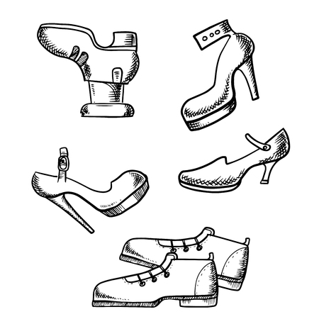 high heeled: Shoes sketch icons with elegant boots with lacing and high heeled female shoes isolated on white background