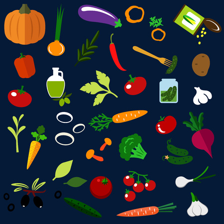 sweet corn: Healthy vegetables flat icons with fresh tomatoes, carrots, cucumbers, potato, peppers, onions, mushrooms, pumpkin, olive oil with fruits, garlics, pickles, sweet corn, eggplant and beet