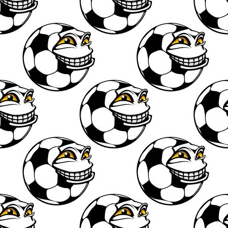 toothy: Seamless pattern of a cartoon soccer ball with a big toothy grin and happy face in a repeat motif in square format, for sports theme design Illustration