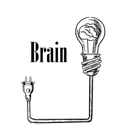 idea generation: Light bulb with human brain inside, connected to electrical plug, for idea generation, brainstorm or inspiration concept. Sketch style image