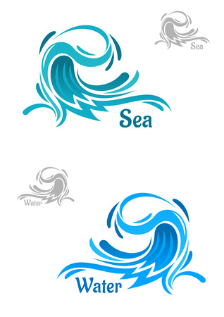 billow: Big powerful ocean wave icons with curling blue water drops, captions Water and Sea. For nature, business or ecology theme Illustration