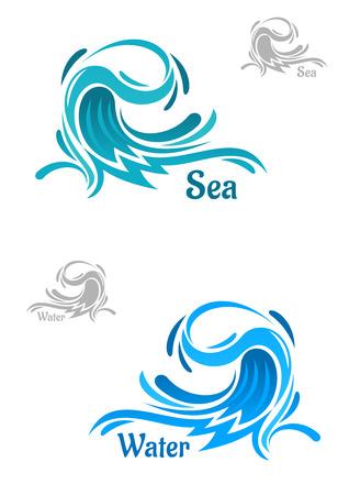 olas de mar: Grandes iconos potentes ondas del océano con las gotas de agua que se encrespa azul, leyendas Agua y mar. Por naturaleza, el negocio o la ecología tema Vectores