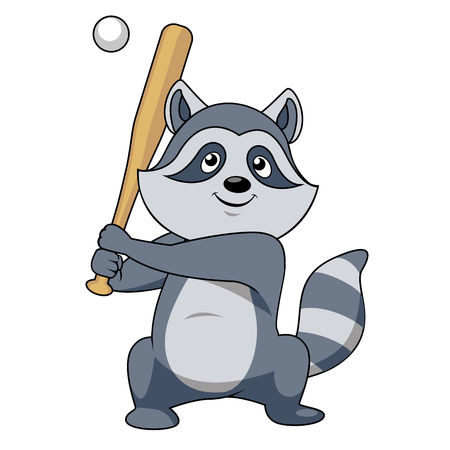 Smiling gray cartoon raccoon baseball player character standing with bat ready to hit a pitch ball, for sporting team or club mascot design