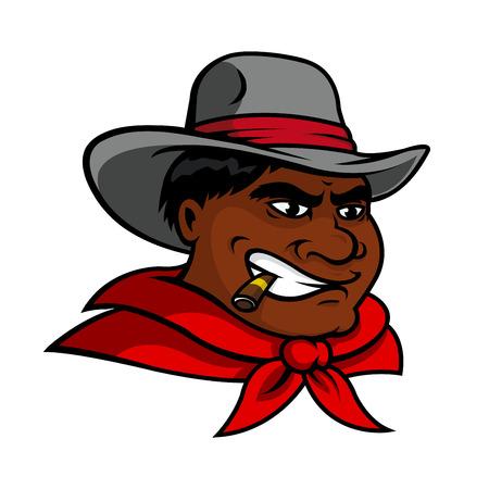 obrero caricatura: Enojado de dibujos animados de vaquero afroamericana en el sombrero gris y necerchief rojo de fumar un cigarro