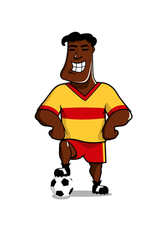 victorious: Victorious african smiling soccer player posing with his foot on the ball, cartoon character isolated on white Illustration