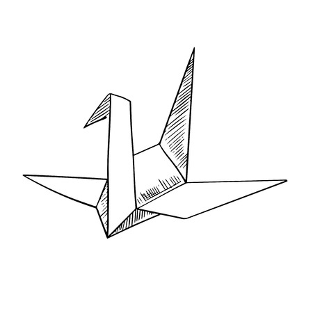 crane origami: Origami paper model of a crane bird, sketch icon, isolated on white