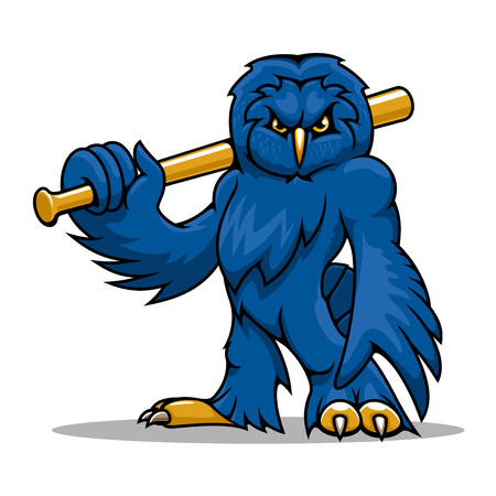 Athletic cartoon blue owl baseball player with wooden bat on shoulder, for sports team mascot or tattoo design